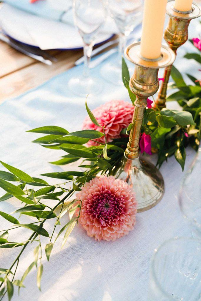 decoracion mesa bohemia boda flores