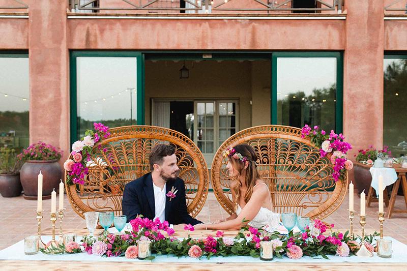 mesa presidencial para 2 boda bohemia