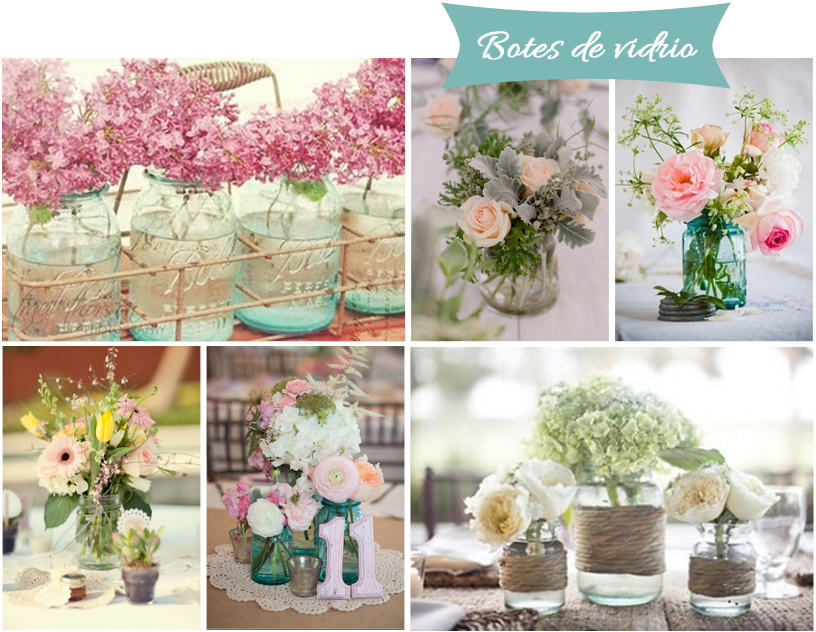 centros de mesa para tu boda botes de vidrio