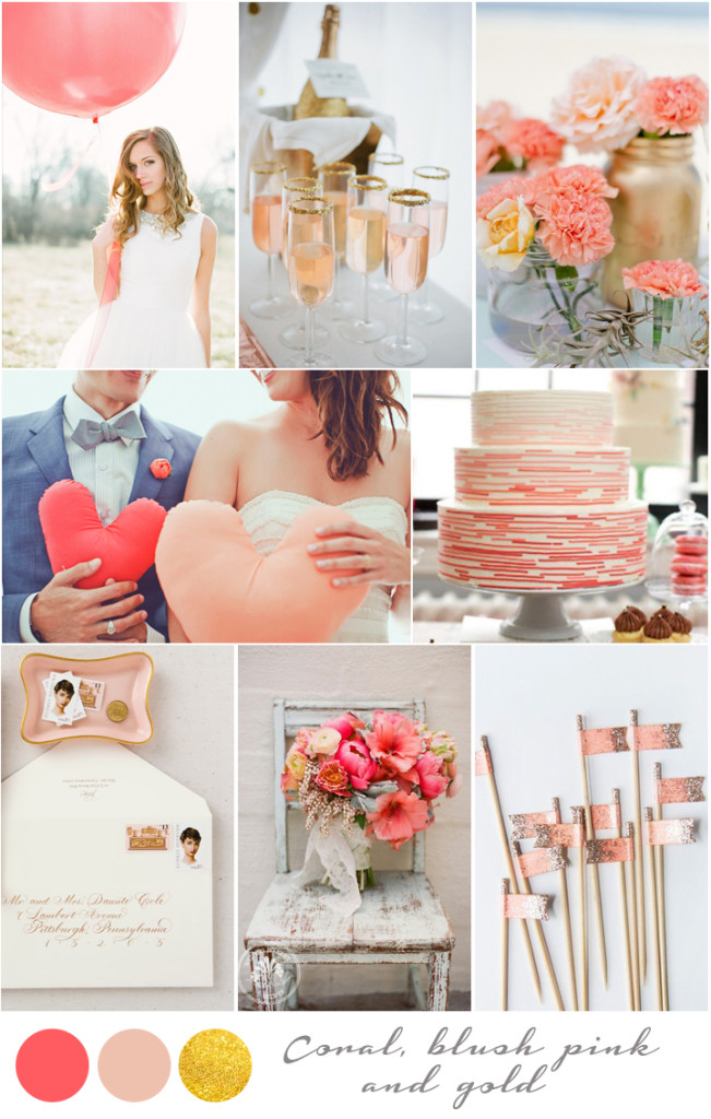 colores para boda decoracion coral blush pink gold