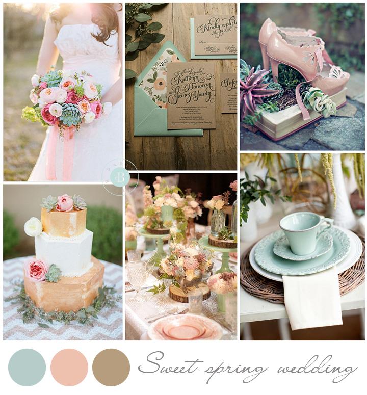 colores para boda 2014 decoracion menta rosa craft