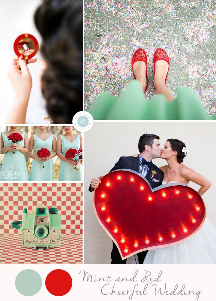 colores para boda verano decoracion mint y rojo