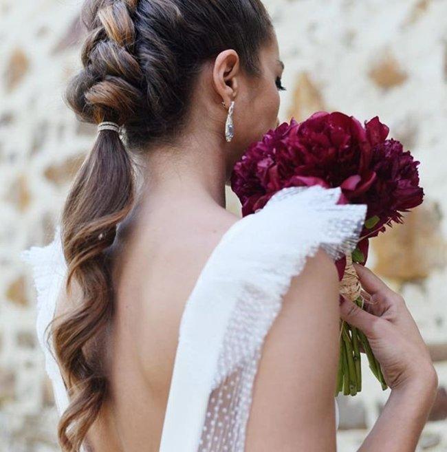 peinado novia 2019 coleta trenza