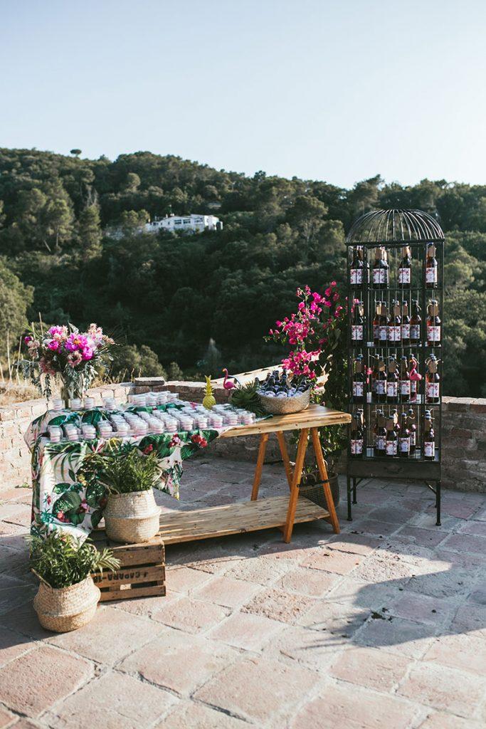 mesa regalos tropical boda