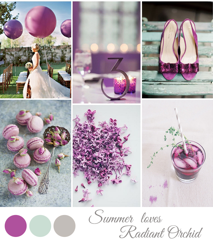 pantoner color 2014 radiant orchid  wedding inspiration board